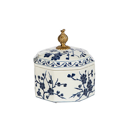 "8"" Branch Box, Blue/White/Brass"
