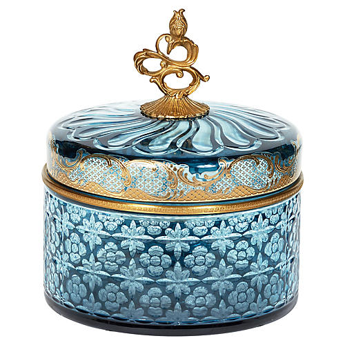 "10"" Decorative Box, Blue/Brass"