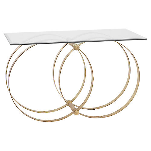 Bailey Console, Gold/Clear
