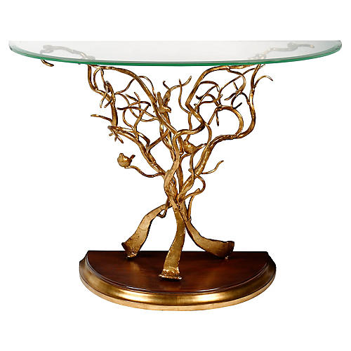 Branch & Bird Demilune Console, Gold