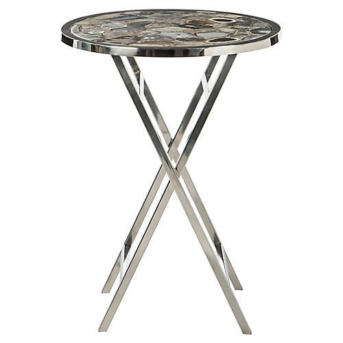 Helena Agate Side Table, Nickel/Gray