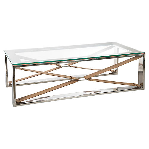 Finley Coffee Table, Nickel/Tan