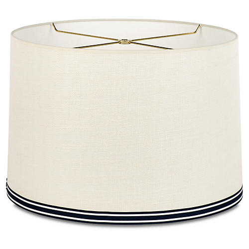 Montauk Stripe Shade, Off-White/Navy/Brass