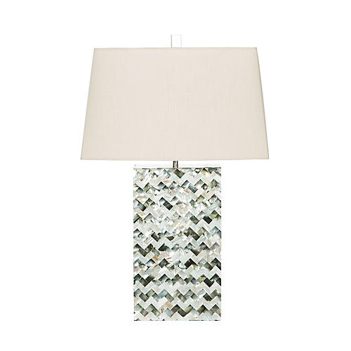 Solana Mother-of-Pearl Table Lamp, Natural/Green