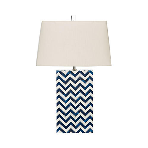 Wykoff Bone Table Lamp, Navy/Off-White