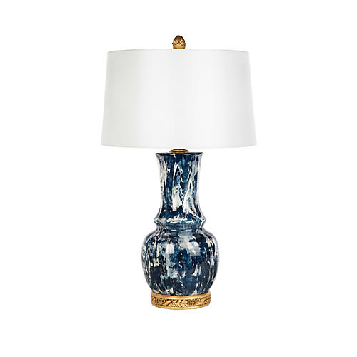 Garvey Table Lamp, Blue/White