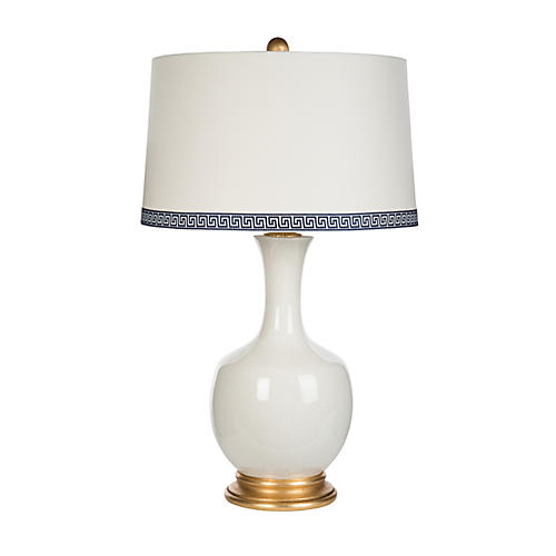 Volos Greek Key Table Lamp, White/Gold