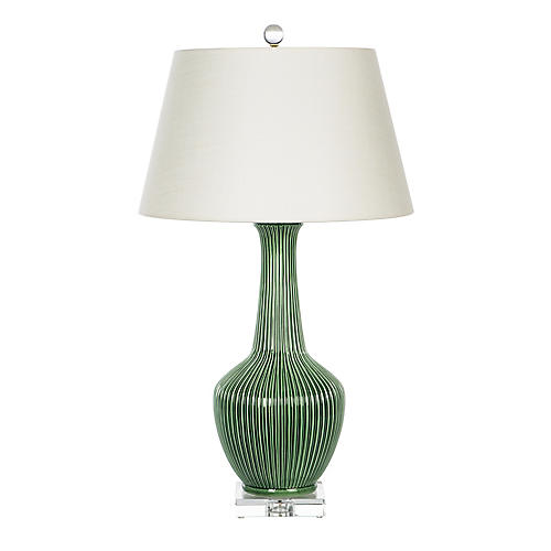 Nove Table Lamp, Hand-Scraped Emerald