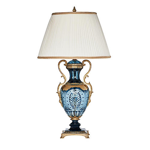Gwynne Table Lamp, Sapphire/Gold