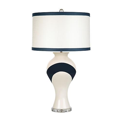 Nicholas Table Lamp, White/Navy
