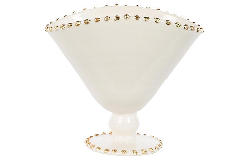 Button Small Vase, Cream/Gold