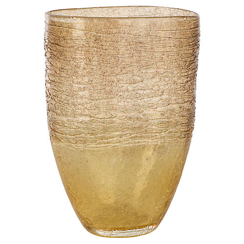 Amber Tall Vase, Transparent Gold