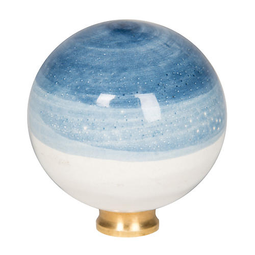 Ceramic Ball Finial, Blue Ombré