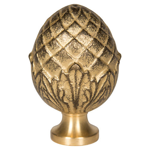 Pine Nut Brass Finial, Gold