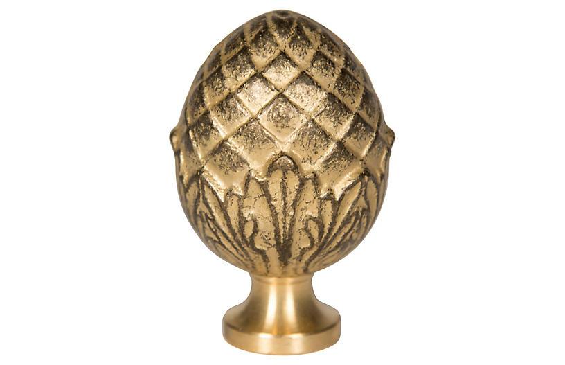 Pine Nut Brass Finial, Gold
