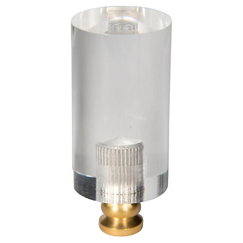 Cylindrical Rod Finial, Clear/Gold