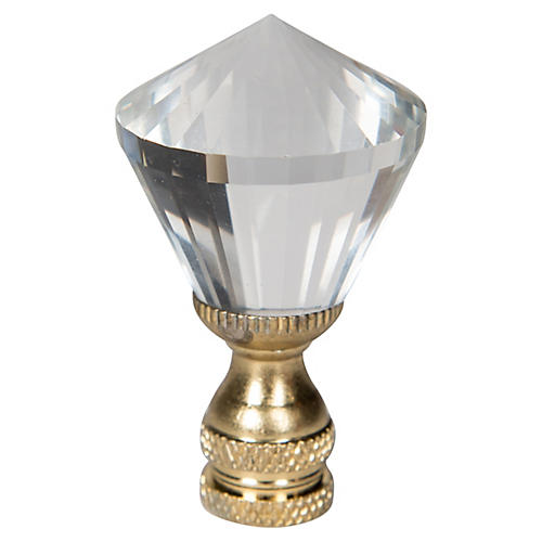 Mushroom Crystal Finial, Clear/Gold
