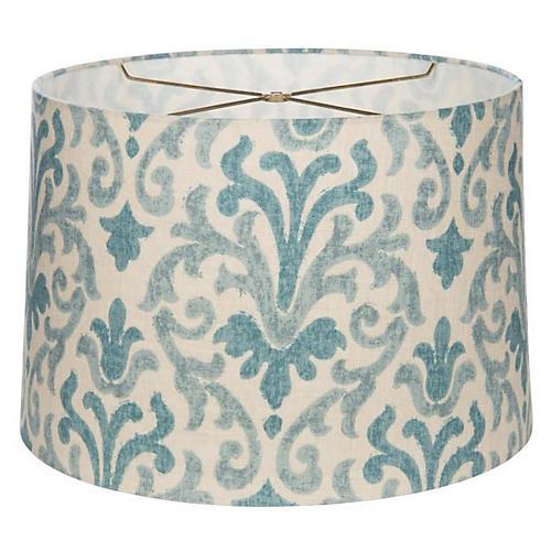 Fleur-de-Lis Drum Lampshade, Blue/Cream