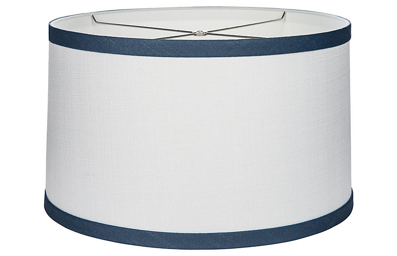 Banded Drum Lampshade, Bone/Navy
