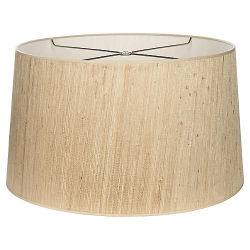 Grass-Cloth Drum Lampshade, Natural