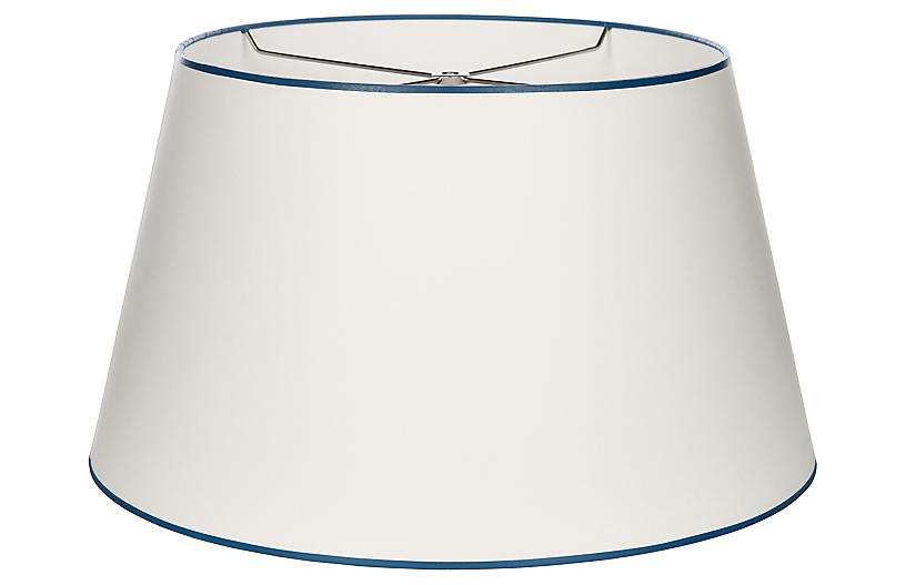 French Empire Lampshade, White/Navy