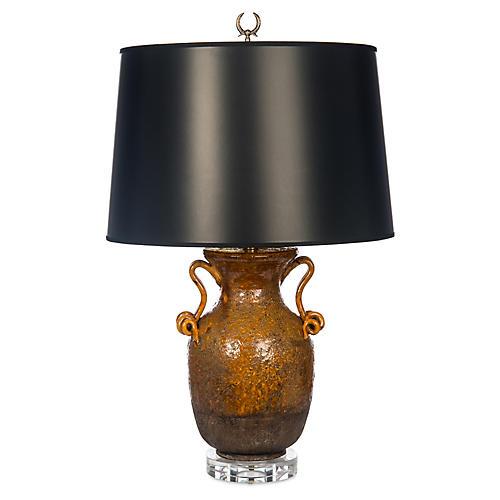Corso Crystal Table Lamp, Rustic Amber/Black