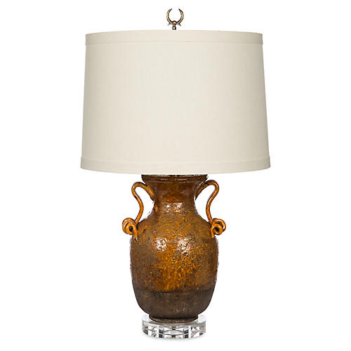 Corso Crystal Table Lamp, Rustic Amber/White