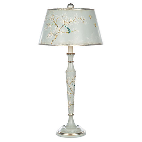 Aliza Table Lamp, Blue/Silver