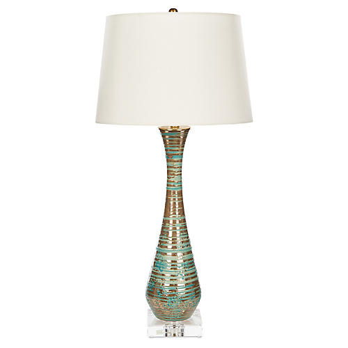 Itzel Crystal Table Lamp, Teal/Bronze