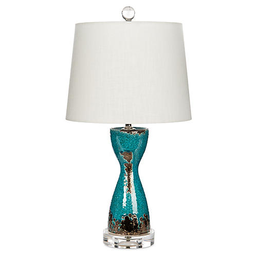 Nevaeh Table Lamp, Aqua/Bronze
