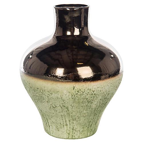 """17"""" Bes Vase, Bronze/Green"""