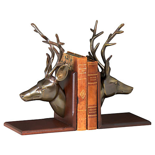 "13"" Deer Bookends, Brown/Brass"