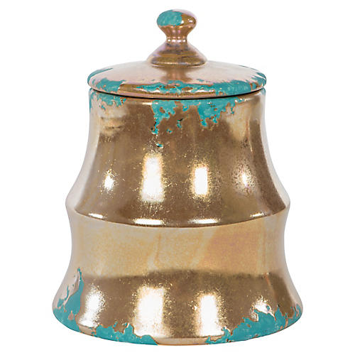 "7"" Demeter Small Jar, Bronze/Turquoise"