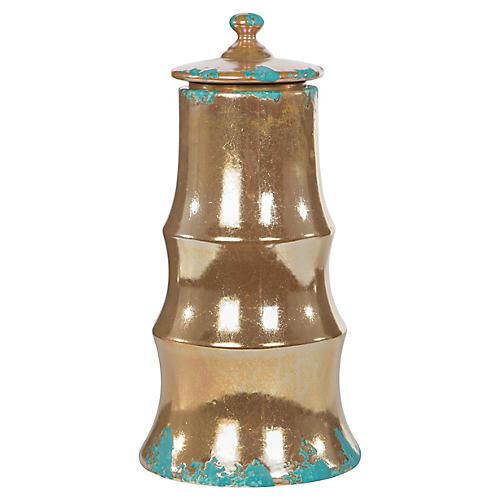 """13"""" Demeter Medium Jar, Bronze/Turquoise"""