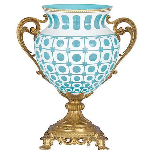 """15"""" Eros Vase, Aqua/White"""