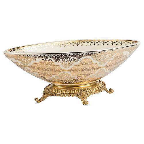 "18"" Faunus Decorative Bowl, Cream/Gold"