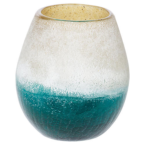 Frosted Votive, White/Turquoise