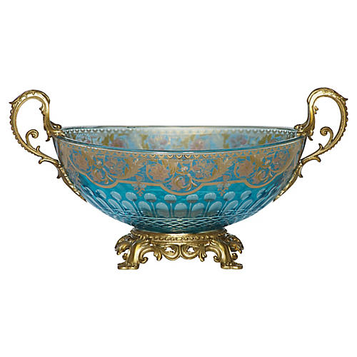 "17"" Hathor Decorative Bowl, Blue/Gold"