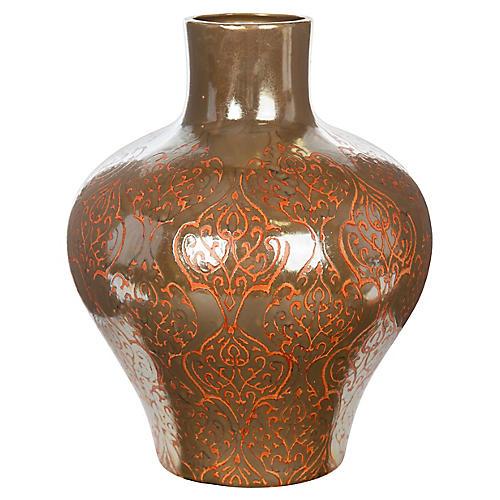 "18"" Moroccan Vase, Brown/Tangerine"