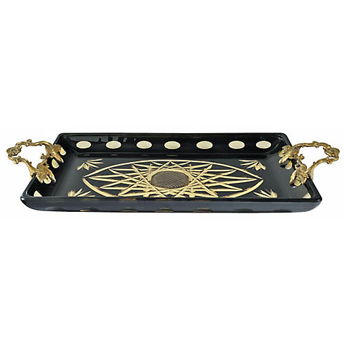 "15"" Nemesis Decorative Tray, Black/Gold"