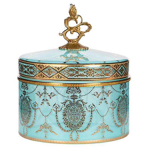 "8"" Pan Finial Box, Aqua/Gold"