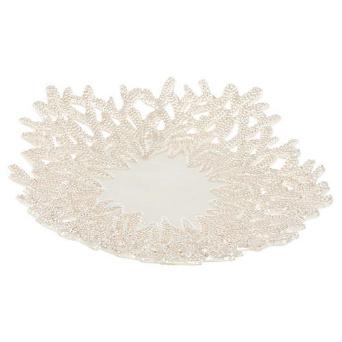"17"" Pearl Decorative Plate, Off-White"