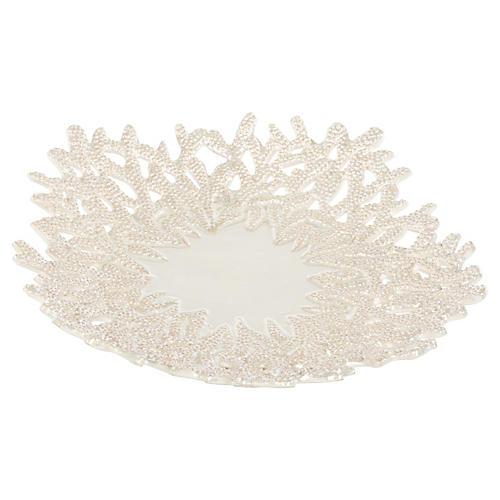 """17"""" Pearl Decorative Plate, Off-White"""