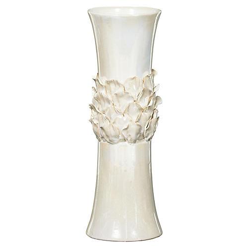 "17"" Petal Vase, Off-White"