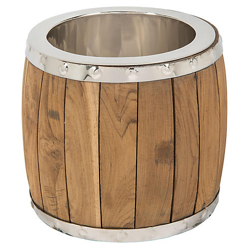 "14"" Plank Ice Bucket, Brown/Silver"