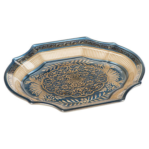 "14"" Selene Decorative Tray, Blue/Gold"