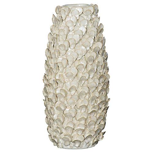 "16"" Shell Vase, Pearl"