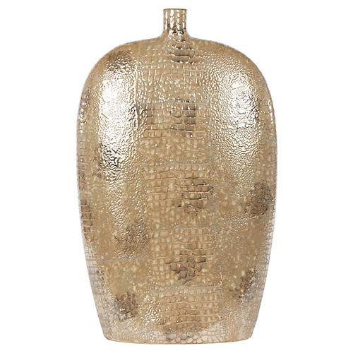 "21"" Faux-Snakeskin Vase, Tan/Gold"