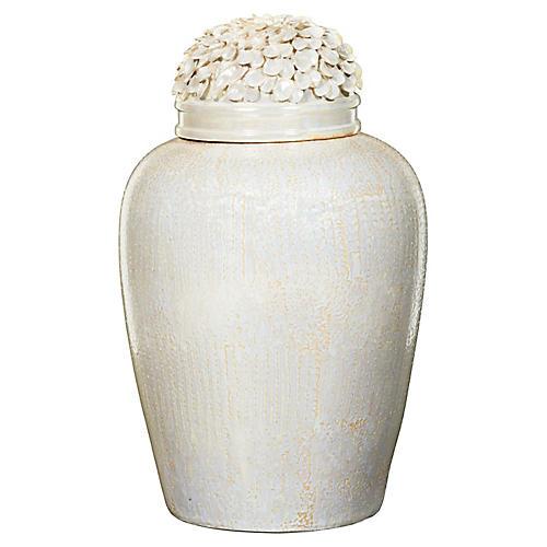 "23"" Faux-Snakeskin & Petal Jar, Pearl"
