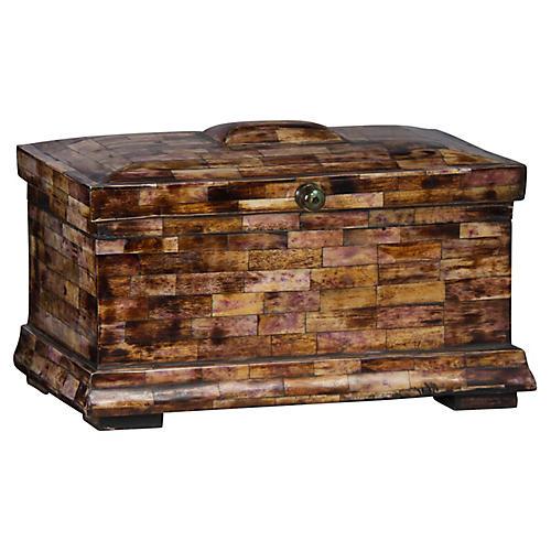"13"" Tile Box, Brown/Purple"
